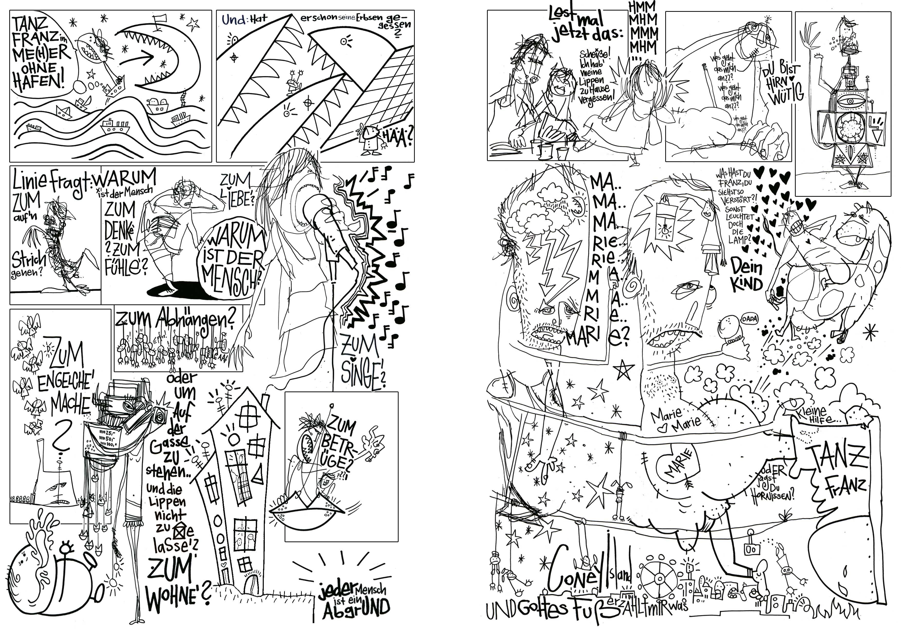 Woyzeck_nach den Proben, Tusche auf Papier, Seite 03/04,Comic Programmheft Thalia Theater Hamburg, 2010
