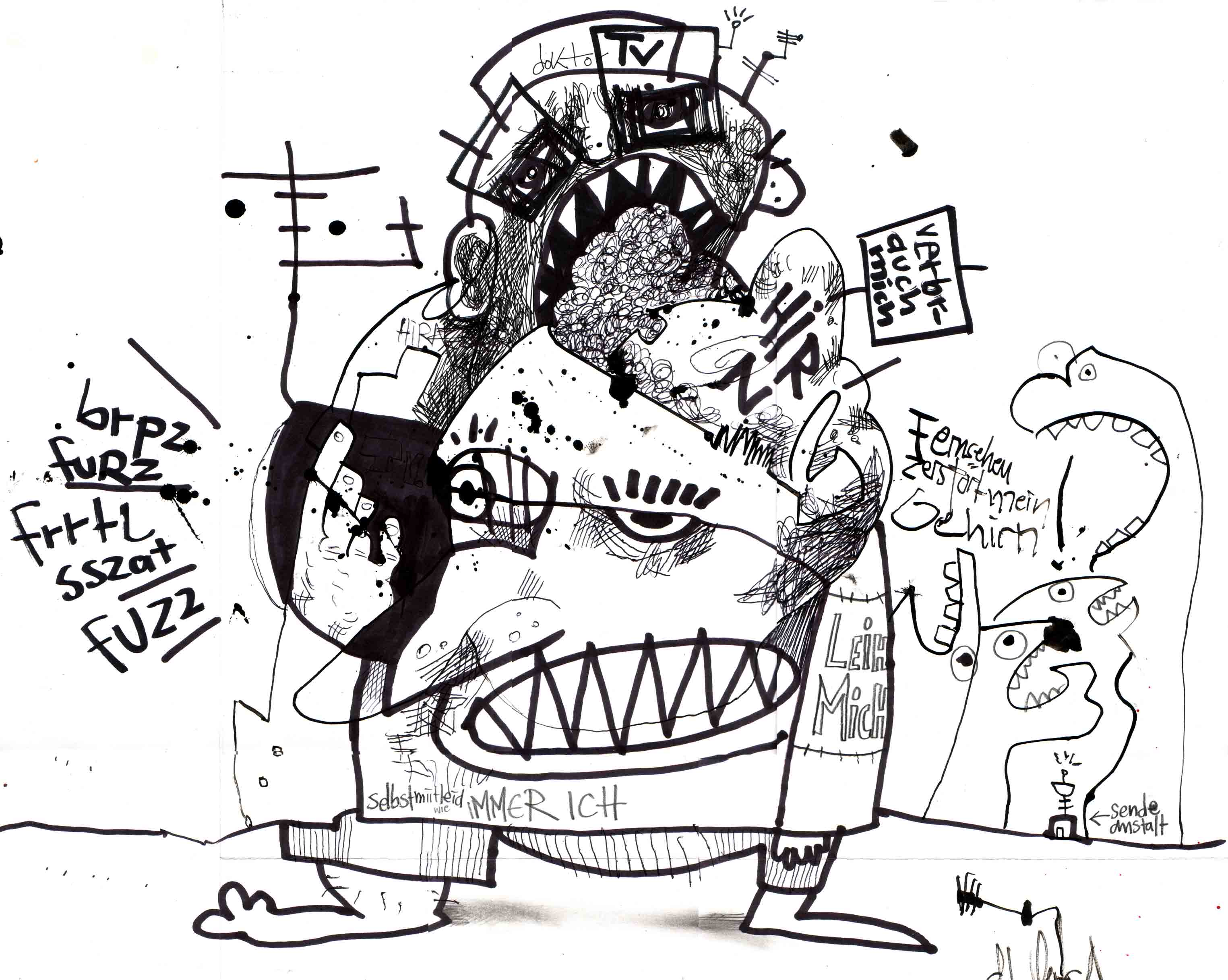 """Doctor TV"", Illustration,Tusche auf Papier, DIN A3, 2005"