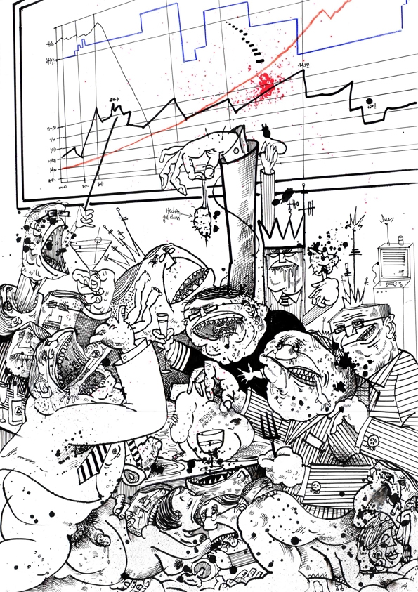 """Le grand bluff"", Illustration,Tusche auf Papier, DIN A3, 2005"