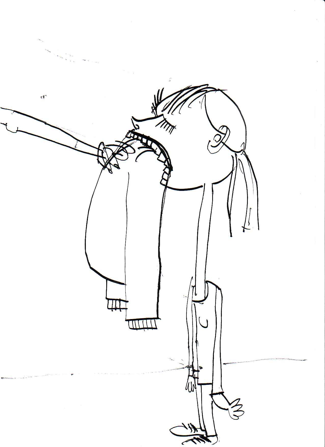 """""""Pullover in die Fresse"""", Illustration, Tusche auf Papier, DIN A 4, Skizze für """"Die schwarze Mamba"""" von Andreas Jungwirth, Lange Nacht der Autoren 2006, Thalia Theater Hamburg"""
