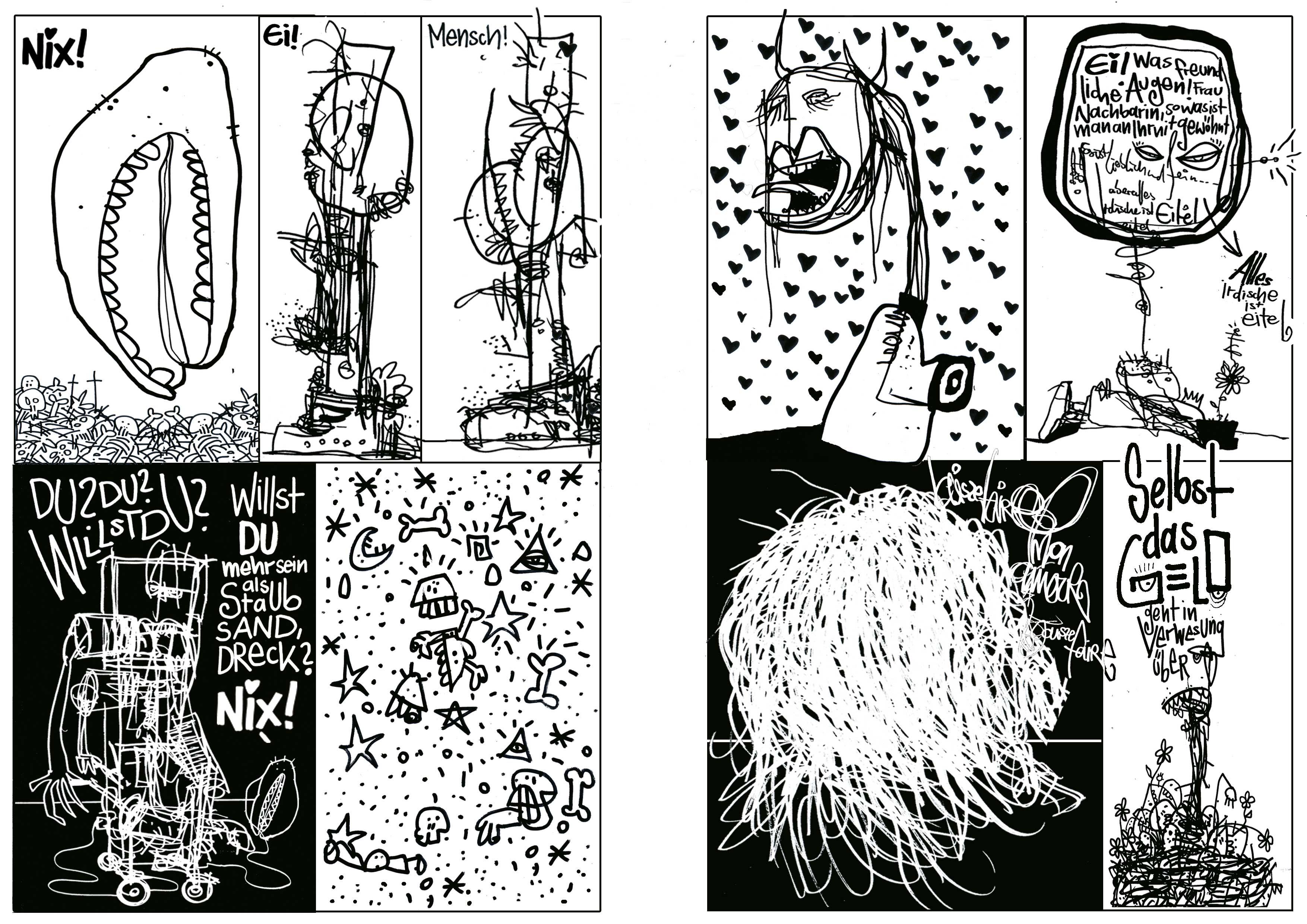 Woyzeck_nach den Proben, Tusche auf Papier, Seite 07/08,Comic Programmheft Thalia Theater Hamburg, 2010