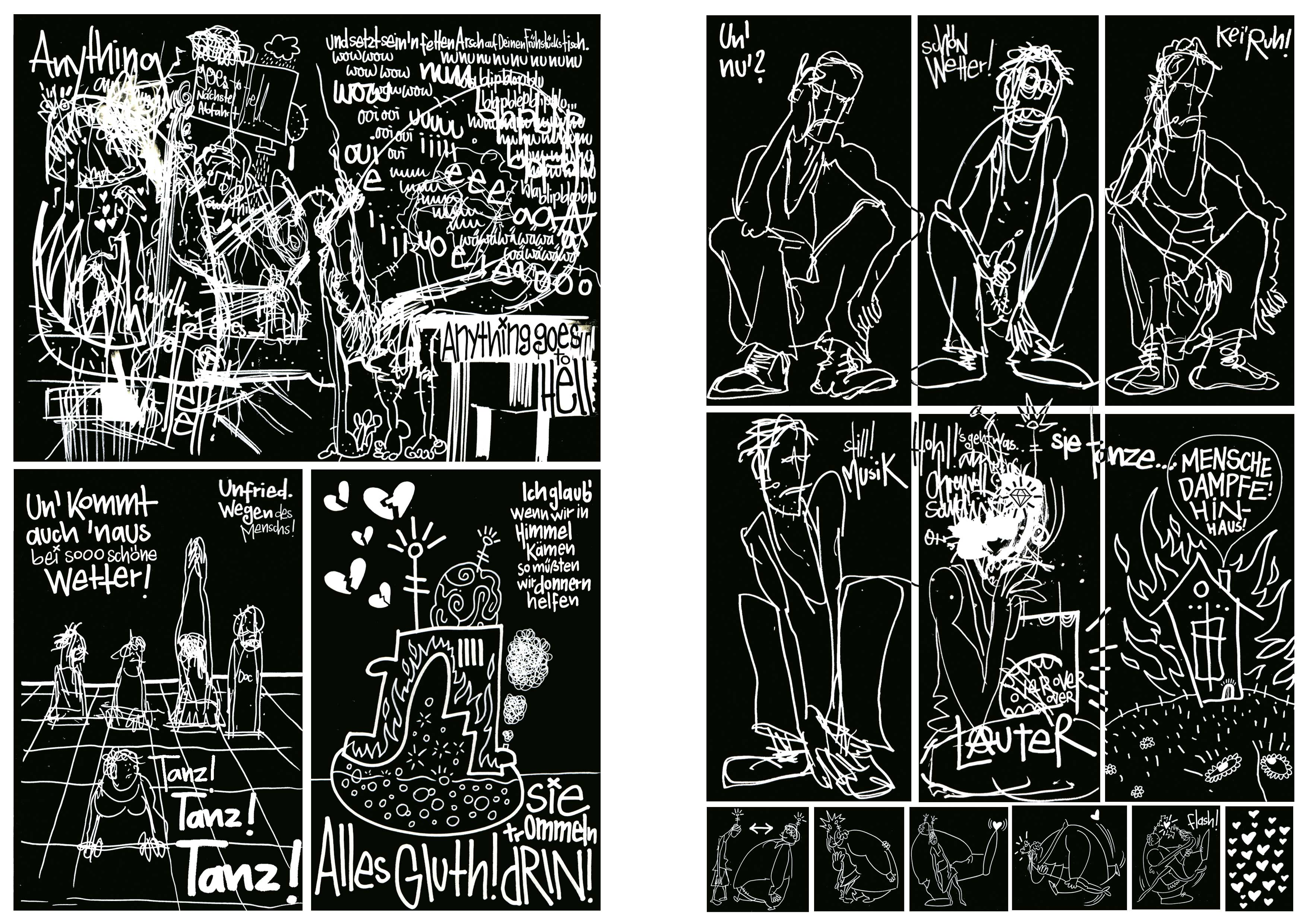 Woyzeck_nach den Proben, Tusche auf Papier, Seite 05/06,Comic Programmheft Thalia Theater Hamburg, 2010