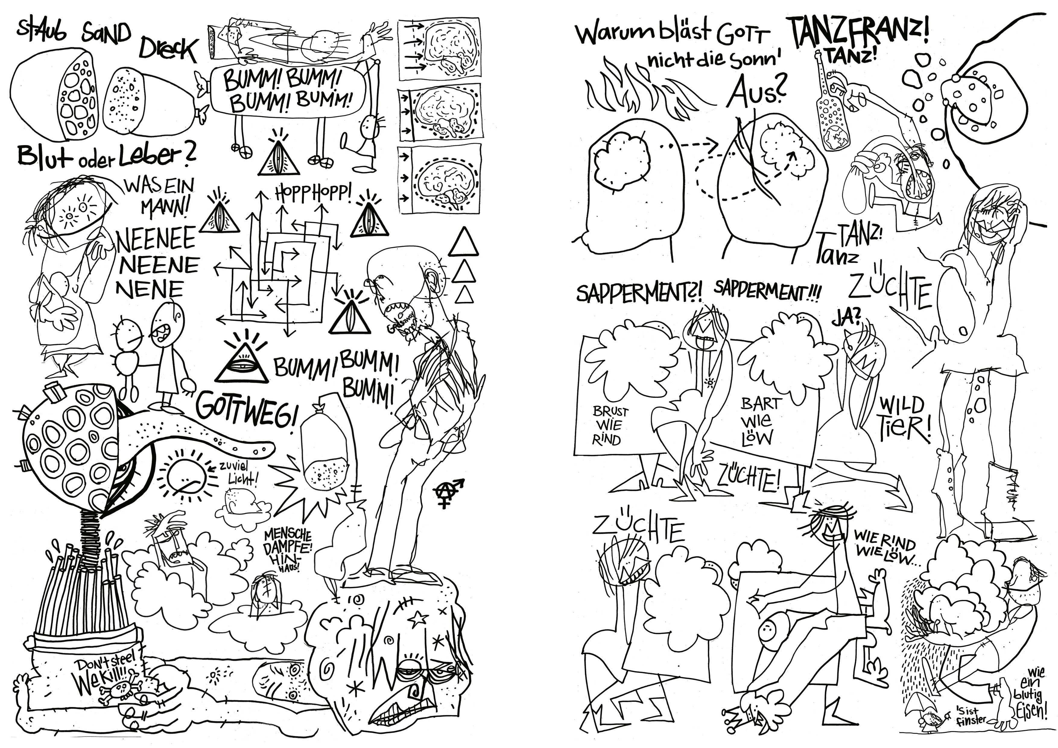 Woyzeck_nach den Proben, Tusche auf Papier, Seite 01/02,Comic Programmheft Thalia Theater Hamburg, 2010
