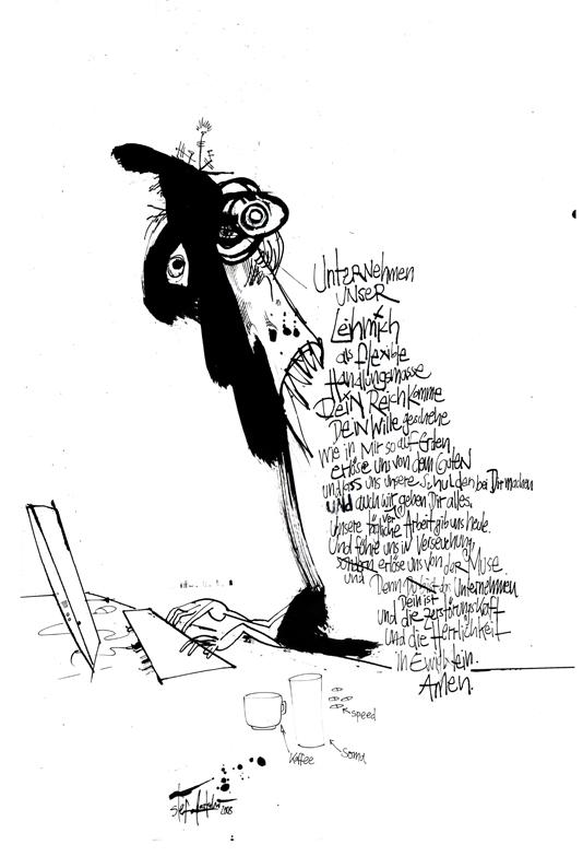 """""""Das Unternehmen unser"""" Illustration,Tusche auf Papier, DIN A2, 2005"""
