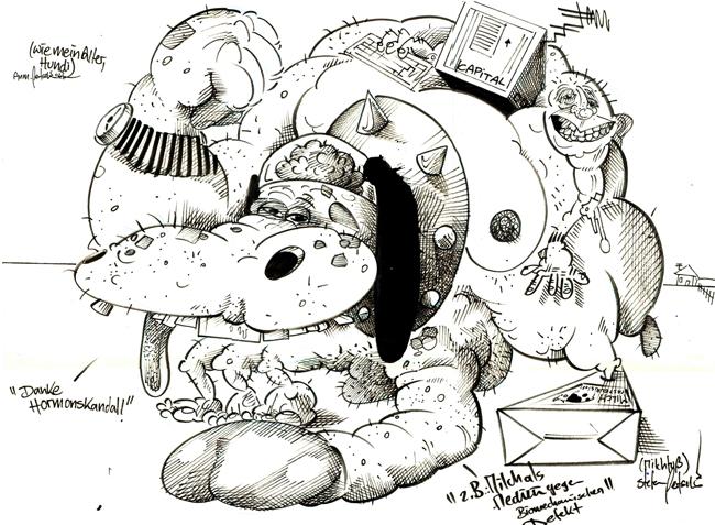 """""""Wie mein alter Hundi"""", Illustration, Tusche auf Papier, DIN A2, 2008"""